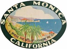 Santa Monica California    Vintage-1940's Looking   Travel Decal  Sticker  Label