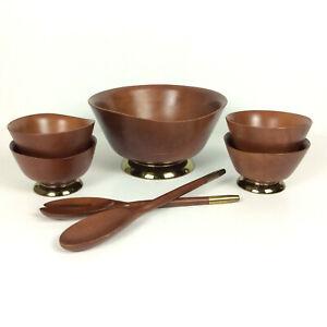 Kromex Wood Brass Salad Rice Serving Bowl Utensils 7 Piece Set Mid Century Japan