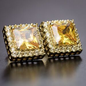 Mens Square Cut Canary Yellow CZ Gold Screw Back Stud Earrings
