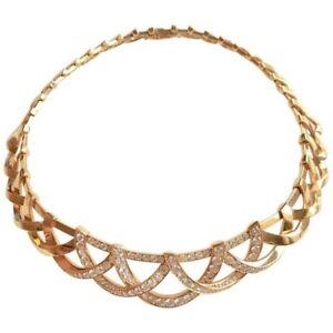 Fine 14k Yellow Gold Plated Handmade Diamond Studded Interlaced Ladies Jewelry
