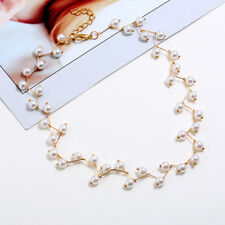 Women Crystal Pearl Bead Necklace Choker Collar Chain Wedding Party Jewelry Gift