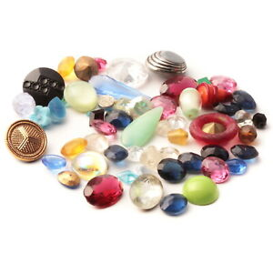 Lot (60) Czech vintage assorted glass rhinestones cabochons buttons beads