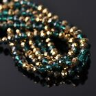 100pcs 6x4mm Rondelle Faceted Crystal Glass Loose Beads Gold&Peacock Green