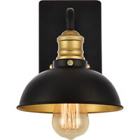 """BLACK AND BRASS WALL SCONCE LIVING DINING ROOM KITCHEN HALLWAY FOYER 1 LIGHT 8"""""""