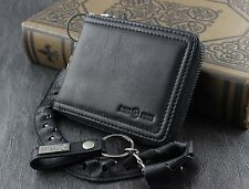 Biker Motorcycle Men Genuine Leather Zipper Money Card Wallet With Chain Black