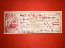 1899 STANTON COUNTY NEBRASKA TREASURER WARRANT BANK CHECK EMBOSSED USA GORGEOUS