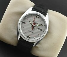 Vintage Seiko 5 Automatic Day Date 6309 Silver Face 36MM Mens Wrist Watch ST028
