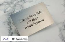 EDELSTAHLSCHILD V2A 85x54mm EC-Kartenformat - Türschild - mit WUNSCHGRAVUR