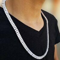 Silver Tennis Chain Single Double Row 3-5mm Lab Diamonds 14K White Gold PT