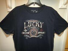 Lucky Brand Mens Los Angeles CA. T-Shirt High Roller Lucky Color Dark Blue  XL