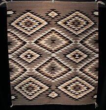 "1940's Navajo Indian Rug Serrated Diamonds Natural Wool 57"" x 50"""