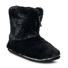 Women's SO Faux Fur Zip Bootie Slippers - Black - Medium 7/8