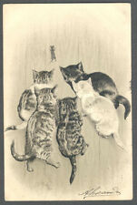 Cats, Cats Trying to Catch a Little Mouse, Funny Old Embossed Postcard