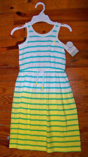 New Girls CARTER'S White Aqua Yellow Cotton Stripe Sleeveless Sundress Dress - 4