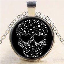 Fashion Fine Jewellery Women's Skull Silver Stars Cabochon Silver Necklace