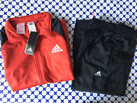 Tuta Acetato Adidas Junior Bimbo - Cerniera Polsino Basic - Rosso Nero - CE8588
