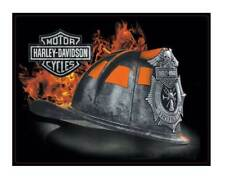 Harley-Davidson Embossed Firefighter Helmet Tin Sign, 17 x 13 inches 2011251