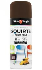 White Knight PAINT & PRIME SQUIRTS 310g SPRAY,Acrylic Enamel GLOSS MISSION BROWN