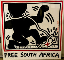 Keith Haring (American 1958-1990) Poster, Free South Africa Signed, plus bonus
