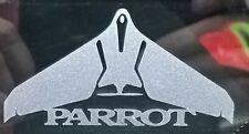 2x Parrot Disco Vinyl Decals 8cm x 4.5cm. Light blue tint glass etch.