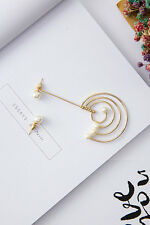 Fashion Women Gold Color Pearl Galaxy Style Asymmetric Ear Earrings Jewelry New