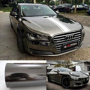 50FT x 5FT Whole Car Wrap Flat Glossy Mirror Chrome Vinyl Sticker Film Black CF