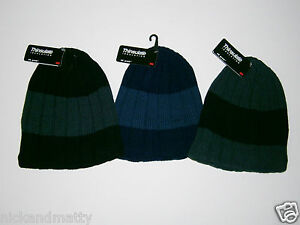 MENS THINSULATE  RIBBED BEANIE HAT FLEECE LINED
