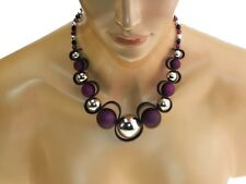 Collier zigzag prune, noir et argenté, bijoux fantaisie.