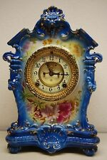 ANTIQUE DRESDEN GERMAN PORCELAIN CERAMIC MANTEL ROYAL BONN ANSONIA CLOCK LION