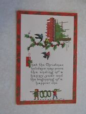 F114 Postcard Merry Christmas elves birds candle holly window sill