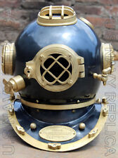 "U.s Navy Mark V Buceo casco para buzos de acero sólido pesado 18"" Vintage"