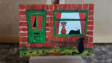 """Original Watercolour Painting ACEO """"Cat Wants To Come In"""" by Colin Coles"""