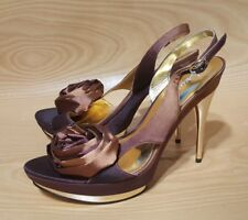 Marciano Platform Slingback Heels Pumps Womens Satin Fabric Flower Shoes 6.5 M