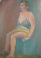 LARGE VINTAGE GOUACHE PAINTING WOMAN PORTRAIT