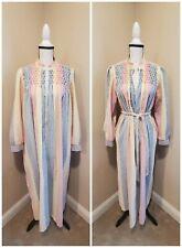 Vintage 80s Rainbow Vertical Striped Lounge Dress Nehru Collar Zip Front volup
