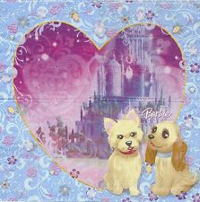 2 Serviettes en papier Barbie chien Decoupage Paper Napkins The diamond Castle