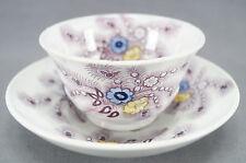 Wood & Challinor Feather Purple Transferware Tea Cup & Saucer C. 1828 - 1845 A