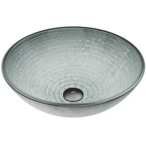 VIGO Simply Silver Glass Vessel Bathroom Sink