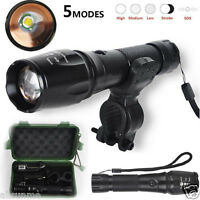 5000lm CREE XM-L T6 Zoomable 18650 LED Flashlight Torch Mount + Charger Box Set