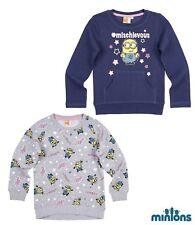 NUEVO niña sudadera Pullover niños Minions Gris Azul 104 116 128 140 152 #141
