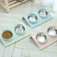 Feeder Stainless Steel Dog Cat Double Feeding Bowls Pet Food Bowl Dish-HOT G5I8