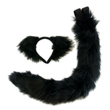 PAWSTAR Furry Kitty Cat Ears & Tail Set - Adult Costume Black Sexy cute [BK]4000