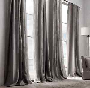 1 RH Textured Belgian Linen Panel 100x96 FOG