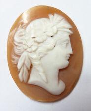 Camée  coquille pour broche pendentif cameo 19e siècle profil de femme antique