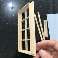 Wooden Traditional 8-pane Window Frame 1:12 Scale Dollhouse Miniature Accessory