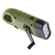 Outdoor Emergency LED Flashlight Hand Crank Dynamo Solar Powered Torch light