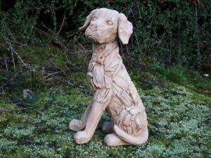 Large Rustic Wooden Dog Garden Ornament Carved Decor Driftwood Natural Puppy