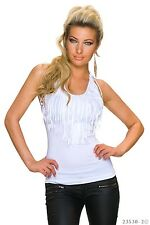 Sexy Trägertop Top Tanktop T-shirt Shirt  mit Fransen Quast  Weiß Größe 38