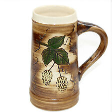 Bierkrug 0,7L - Bier Krug Kanne Humpen Trinkgefäß - handbemalte Keramik Hopfen