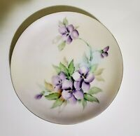 """Signed Bavaria Tirschenreuth Cabinet Plate Hand Painted Pansy's Gold Trim 8.5"""""""